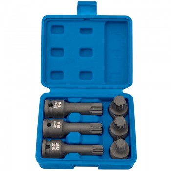 "1/2"" Sq. Dr. Impact Spline Bit Set (6 Piece)"