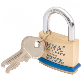40mm Solid Brass Padlock and 2 Keys with Mushroom Pin Tumblers Hardened Steel Shackle and Bumper