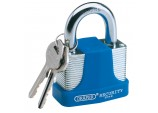 50mm Laminated Steel Padlock and 2 Keys with Hardened Steel Shackle and Bumper