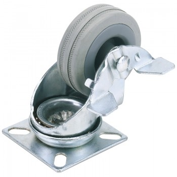 100mm Dia. Swivel Plate Fixing Rubber Castor with Brake - S.W.L 80Kg