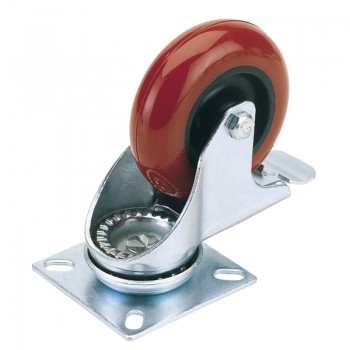 100mm Dia. Swivel Plate Fixing Polyurethane Wheel with Brake - S.W.L. 125Kg