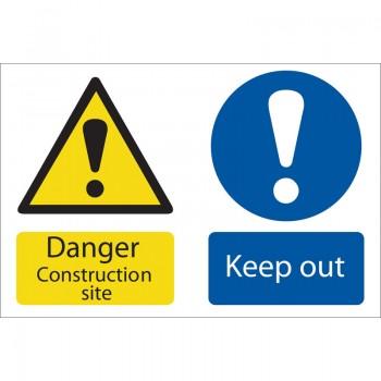 'Danger Construction Site' Hazard Sign