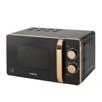 20L Manual Microwave in Black and Rose Gold Accents - 800w