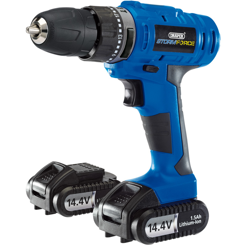 Storm Force® Cordless Hammer Drill with Two Li-ion Batteries (14.4V) – Now Only £70.19