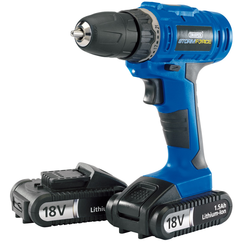 Storm Force® Cordless Drill with Two Li-ion Batteries (18V) – Now Only £78.61