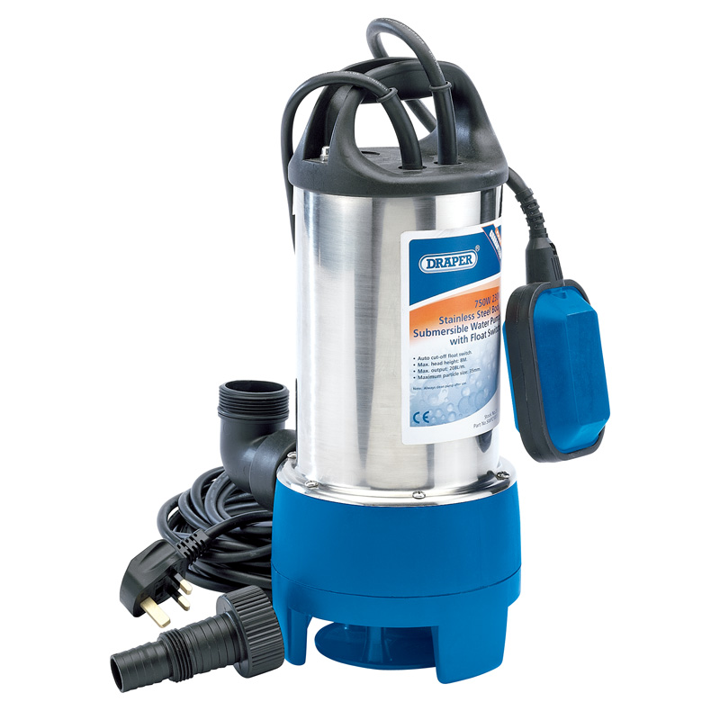 208L/min 750W 230V Stainless Steel Submersible Dirty Water Pump with Float Switch – Now Only £82.77