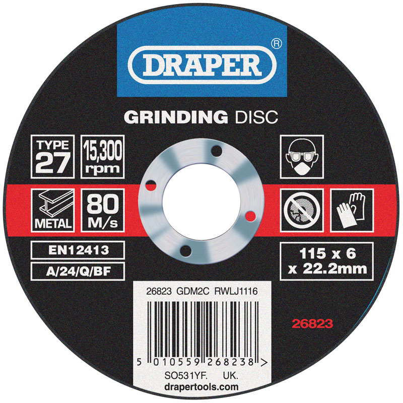 Grinding Disc With Depressed Centre Bore (115 x 6 x 22.2mm) – Now Only £1.08
