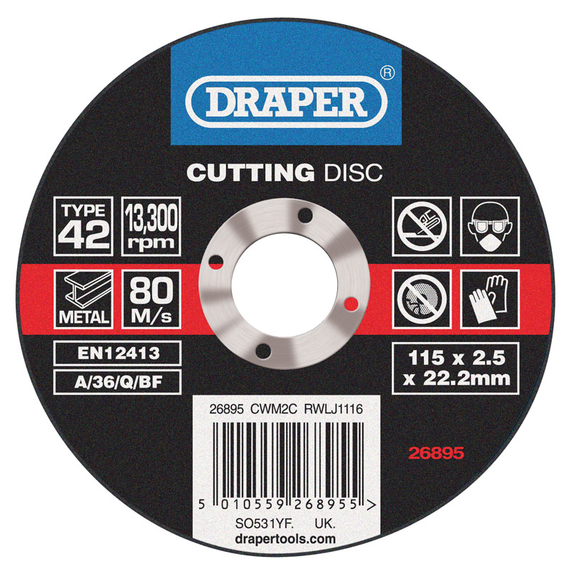Depressed Centre Metal Cutting Discs (115 x 2.5 x 22.2mm) – Now Only £0.74