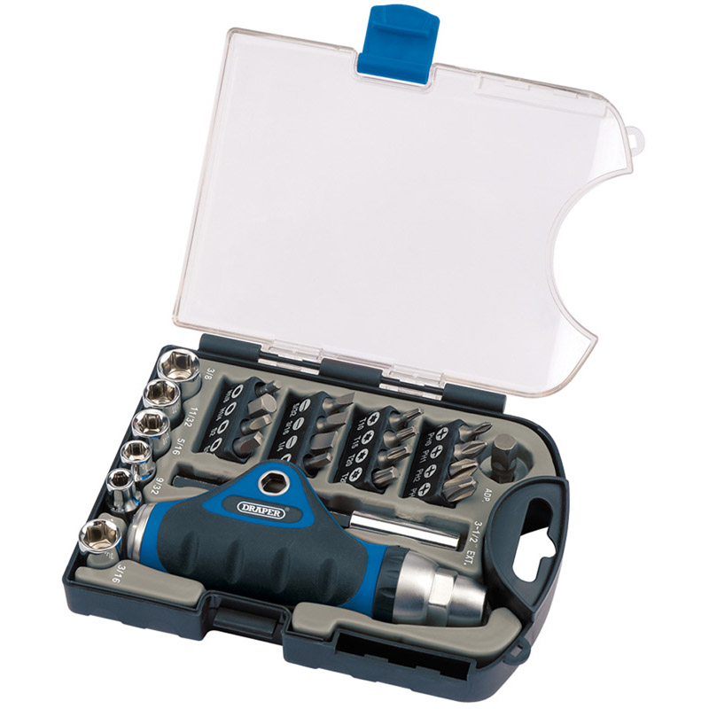 Ratcheting Screwdriver, Socket and Bit Set. (25 piece) – Now Only £10.19