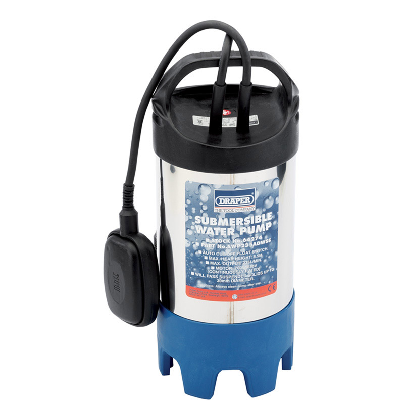 235L/Min (Max.) 700W 230V Stainless Steel Body Submersible Dirty Water Pump (With Float Switch) – Now Only £140.39