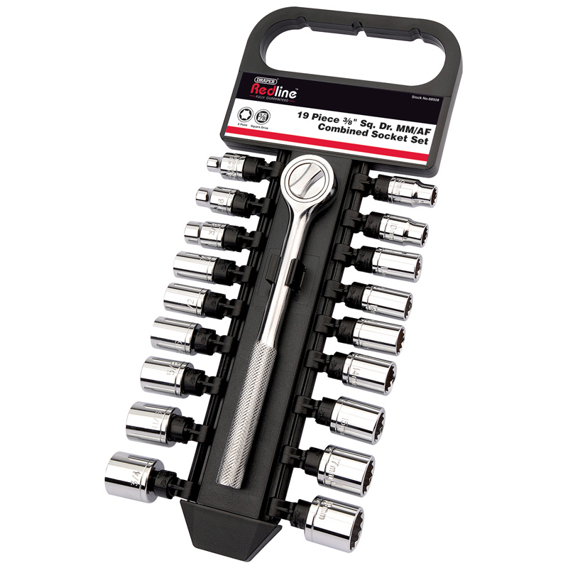 "3/8"" Sq. Dr. MM/AF Combined Socket Set (19 Piece) – Now Only £11.57"