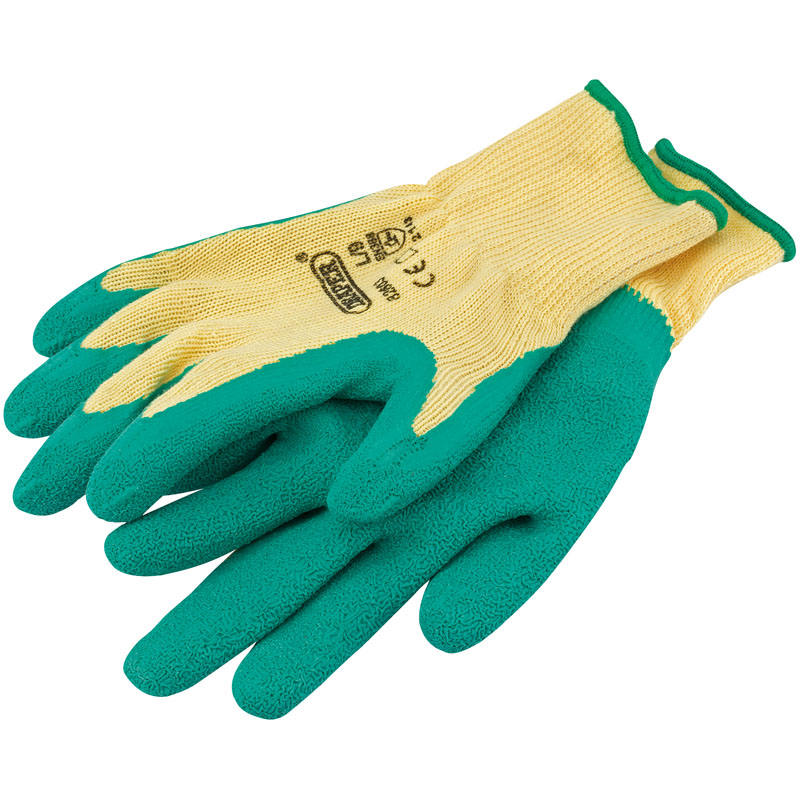 Green Heavy Duty Latex Coated Work Gloves - Large – Now Only £1.54