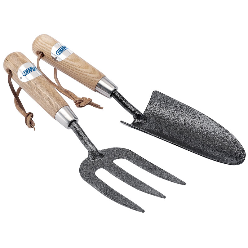 Carbon Steel Heavy Duty Hand Fork and Trowel Set with Ash Handles (2 Piece) – Now Only £4.84