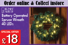 Spruce wreath with 40 warm white LEDs - battery operated – Now Only £18.00