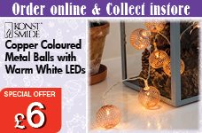 Light set 10 copper coloured metal balls warm white LEDs – Now Only £6.00