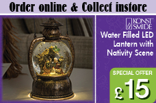Water Filled Lantern with Nativity Warm white LED – Now Only £15.00