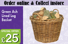 Green Ash Hessian Lined Log Basket  – Now Only £25.00