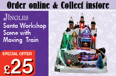Santa Workshop Scene with Train – Now Only £25.00