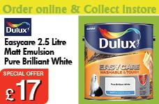 Easycare Washable and Tough Matt Pure Brilliant White 2.5L – Now Only £17.00