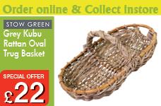 Grey Kubu Rattan Oval Trug Basket – Now Only £22.00