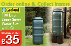 100ltr Space Saver Water Butt Kit (Tap Lid Diverter & Stand) – Now Only £35.00