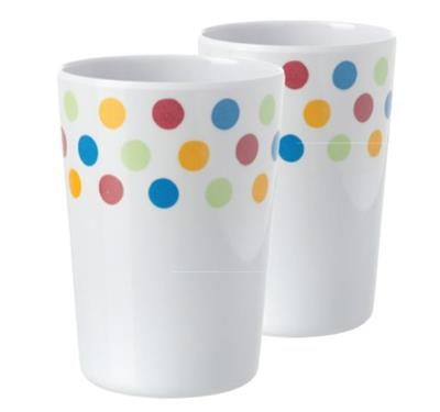Pack of 2 Melamine Beakers - Polka – Now Only £1.50