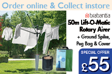 50m Lift-O-Matic Rotary Airer + Metal Ground Spike Peg Bag Cover & Pegs – Now Only £55.00