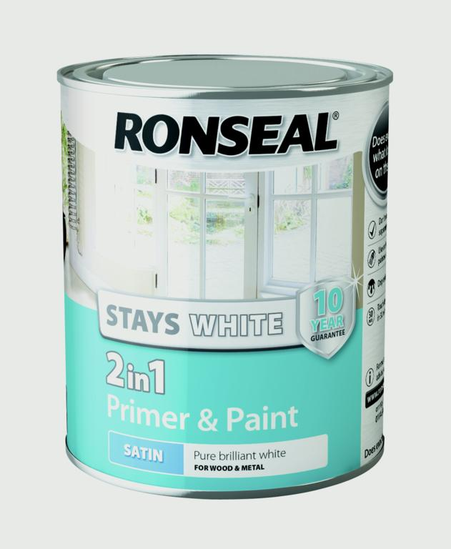 Stay White 2in1 Primer and Paint 750ml White  - Satin – Now Only £9.00