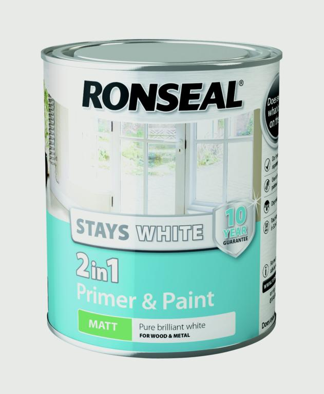 Stay White 2in1 Primer and Paint 750ml White  - Matt – Now Only £9.00