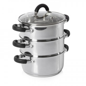 Essentials 18cm 3 Tier Steamer Stainless Steel – Now Only £18.00