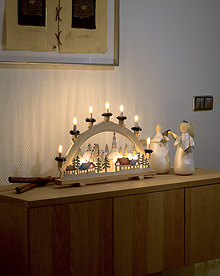 Natural wooden 7 Bulb Candlestick with Motifs 230v – Now Only £25.00
