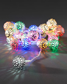 Light set with 21 multi coloured metal balls.  – Now Only £12.00