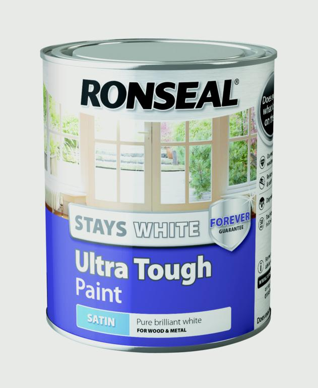 Stays White Ultra Tough Paint White750ml - Satin – Now Only £12.00