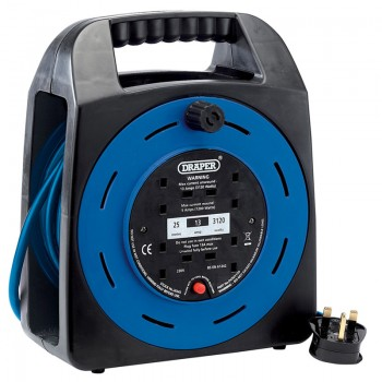 230V Four Socket Extension Reel with Integral Carrying Handle (25M)