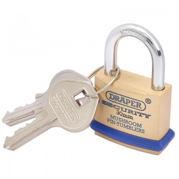 30mm Solid Brass Padlock and 2 Keys with Mushroom Pin Tumblers Hardened Steel Shackle and Bumper