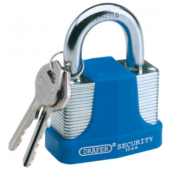 30mm Laminated Steel Padlock and 2 Keys with Hardened Steel Shackle and Bumper