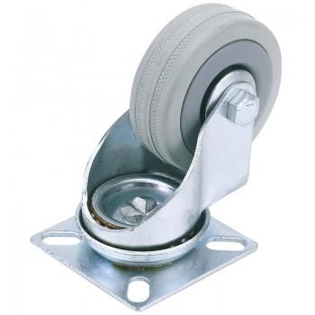 50mm Dia. Swivel Plate Fixing Rubber Castor - S.W.L 50Kg