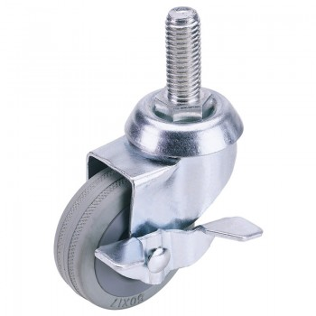 50mm Dia. Swivel Bolt Fixing Rubber Castor with Brake - S.W.L 50Kg