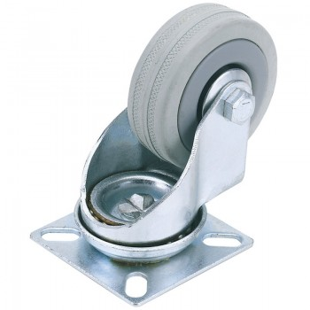 100mm Dia. Swivel Plate Fixing Rubber Castor - S.W.L 80Kg