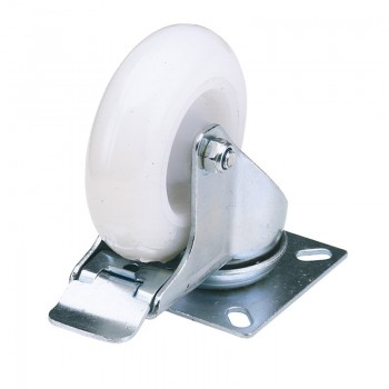 100mm Dia. Swivel Plate Fixing Nylon Wheel with Brake - S.W.L. 125Kg