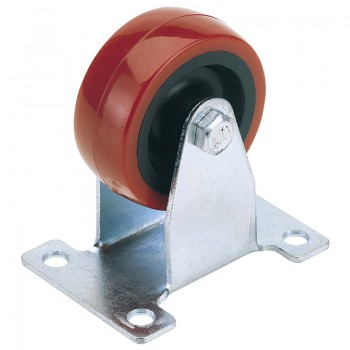 75mm Dia. Fixed Plate Fixing Polyurethane Wheel - S.W.L. 100Kg