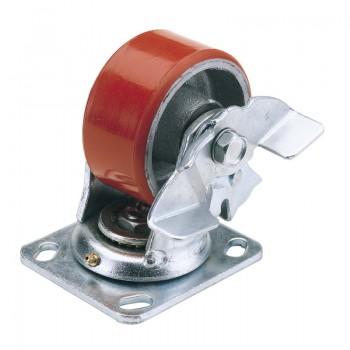 100mm Dia. Swivel Plate Fixing Heavy Duty Polyurethane Wheel with Brake - S.W.L. 250Kg