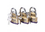 Pack of 6 x 60mm Solid Brass Padlocks with Hardened Steel Shackle