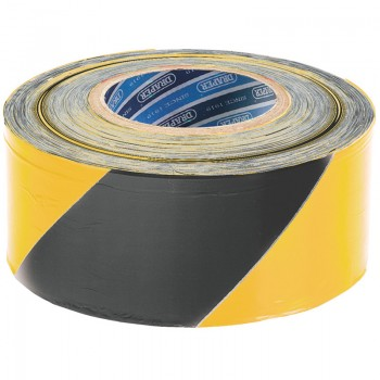 500M x 75mm Black and Yellow Barrier Tape Roll