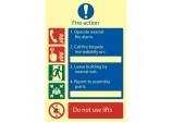 Glow In The Dark 'Fire Action Procedure' Mandatory Sign
