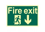 Glow In The Dark 'Fire Exit Arrow Down' Safety Sign