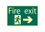 Glow In The Dark 'Fire Exit Arrow Right' Safety Sign