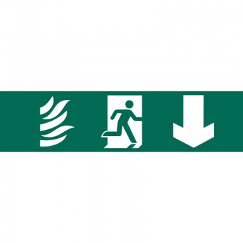 'Running Man Arrow Down' Safety Sign