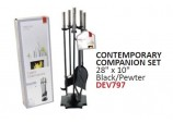 Contemporary Companion Set - Black and Pewter