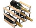 9 Bottle 3 x 2 Natural Pine and Galvanised Steel Wine Rack - Assembled